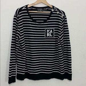 Karl lagerfield stripe rhinestone sweater-XL